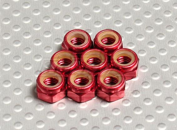 Red alluminio anodizzato M5 Nylock Nuts (8pcs)