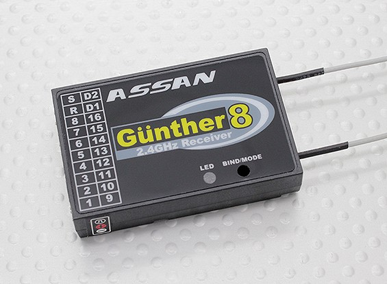 Assan Gunther 8 2.4GHz FASST compatibile 8CH S.BUS Ricevitore