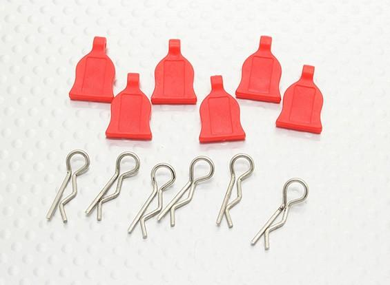 Clip 1/10 corpo di automobile con la linguetta di gomma (rosso) 6pc