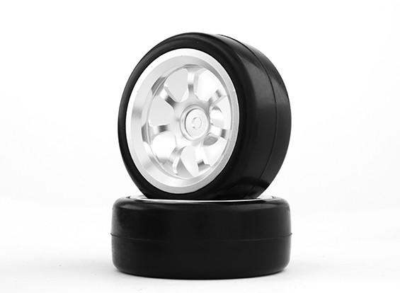 Dipartimento Funzione Pubblica 1/10 alluminio a 7 razze 12 millimetri Hex Wheel (argento) / Slick Tire 26 millimetri (2pcs / bag)