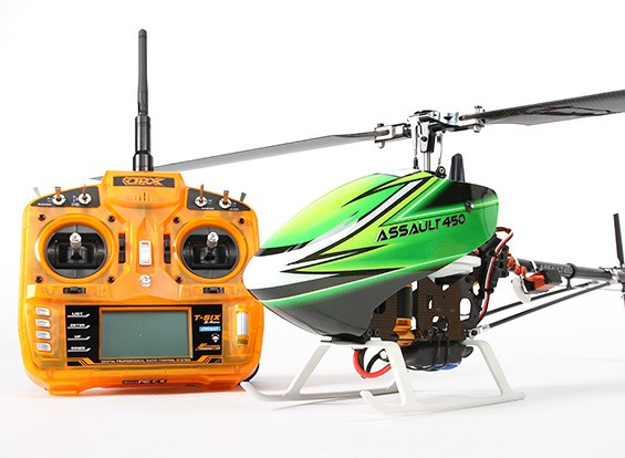 Assalto in elicottero 450 DFC Flybarless 3D w / OrangeRX T-SEI 2.4Ghz Trasmettitore - Mode 1 (RTF)