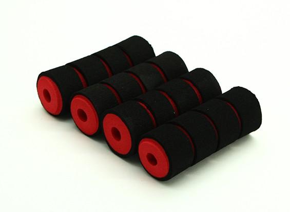 Multi-rotore Shock Absorbing Schiuma Skid collari Rosso / Nero (65x23x7mm) (4 pezzi)