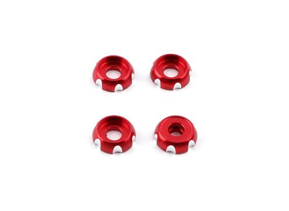 Alluminio 3mm CNC Roundhead Washer - rossi (4 pezzi)