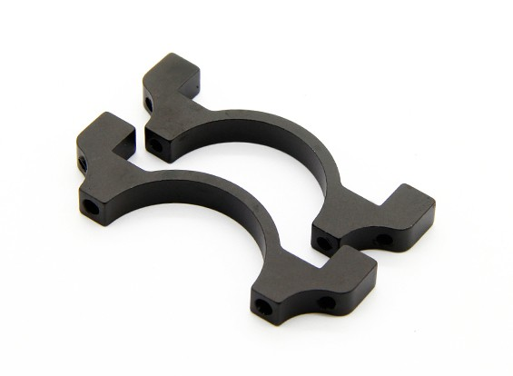 Anodizzato nero CNC semicerchio lega Tubo Clamp (incl.screws) 30 millimetri