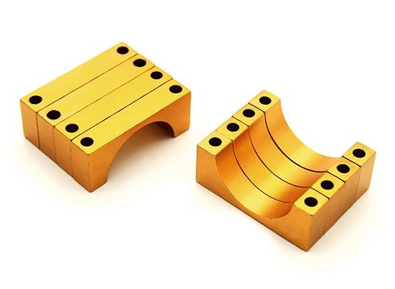 Anodizzato oro doppio 6MM facce di alluminio di CNC del tubo morsetto diametro di 20mm (Set di 4)
