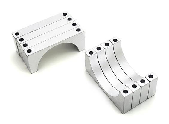 Argento anodizzato doppio 6MM facce di alluminio di CNC del tubo morsetto 30 mm di diametro (Set di 4)