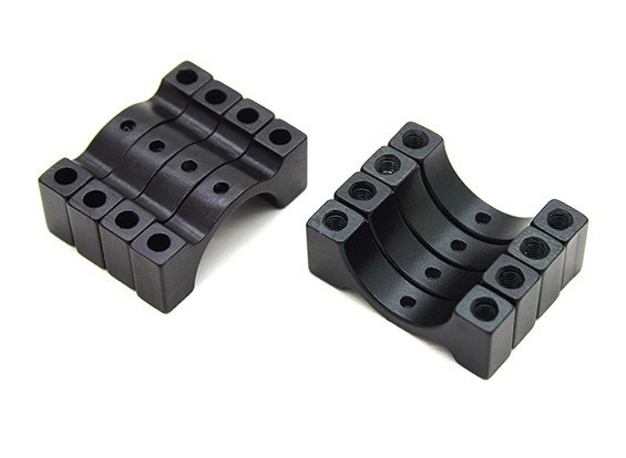 Anodizzato nero di alluminio di CNC 5 millimetri tubo morsetto 15 mm di diametro (Set di 4)
