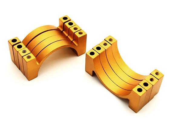 L'oro anodizzato di alluminio di CNC del tubo morsetto 28 millimetri Diametro (Set di 4)