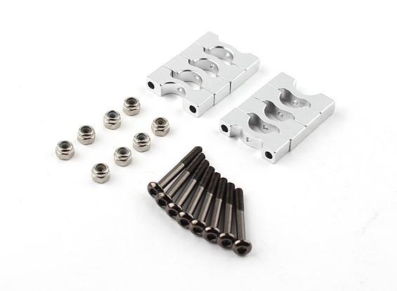 Argento anodizzato CNC Super lega leggera tubo morsetto 8 millimetri Diametro (4 pezzi)