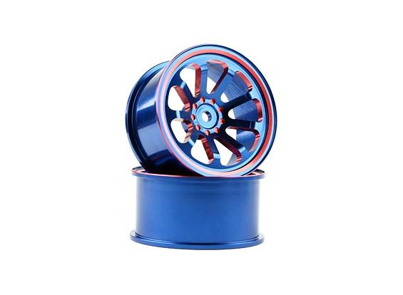 Dipartimento Funzione Pubblica 1/10 in alluminio a 9 razze blu / rosso Drift ruote (2 pezzi)
