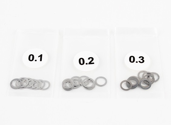 Acciaio inossidabile 5 millimetri Shim Spacer 0.1 / 0.2 / 0.3 (10pcs ciascuno) - 3Racing SAKURA FF 2014