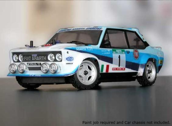 Rally Legends 1/10 Fiat Abarth 131 Rally Car Unpainted auto Shell Corpo w / decalcomanie