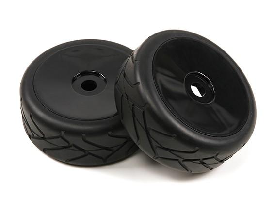 1/8 di scala nero Ruote piatto Pro con Semi Gomme Slick Style (2pc)