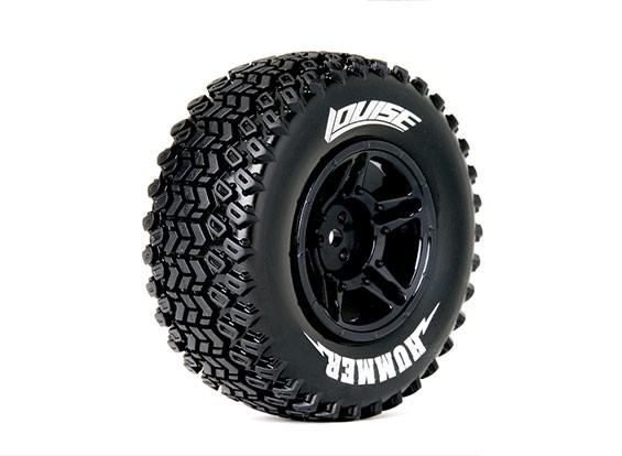 LOUISE SC-HUMMER 1/10 camion scala pneumatici di mescola morbida / nero Rim (Per LOSI 4X4 TEN-SCTE) / Montato