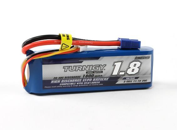 Turnigy 1800mAh 3S 20C LiPoly pacchetto w / CE3 (E-Flite compatibile EFLB32003S)