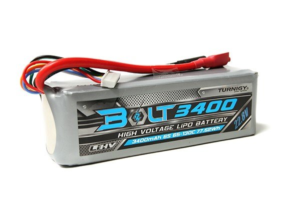 Turnigy Bolt 3400mAh 22.8V 6S 65 ~ 130C High Voltage Lipoly Pack (LiHV)