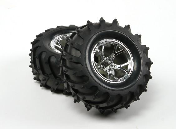 Dipartimento Funzione Pubblica ® ™ 1/10 Crawler e Monster Truck 125 millimetri ruote e pneumatici (argento Rim) (2 pezzi)