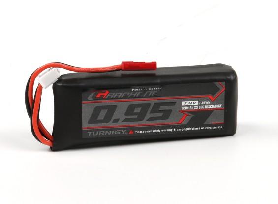 Turnigy grafene 950mAh 2S 65C LiPo pacchetto w / JST-SYP-2P