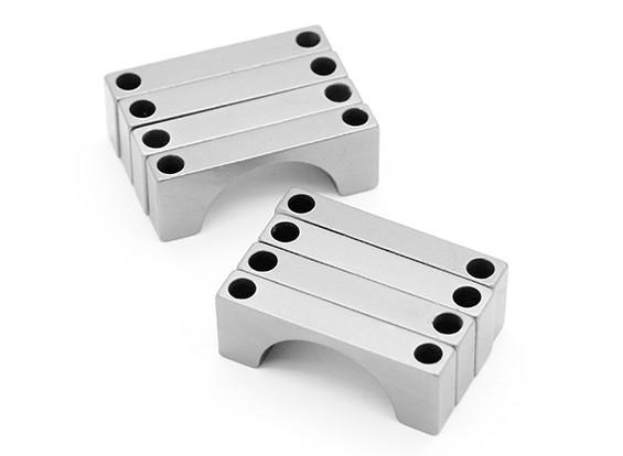 Anodizzato argento CNC semicerchio lega Tubo Clamp (incl.screws) 25 millimetri