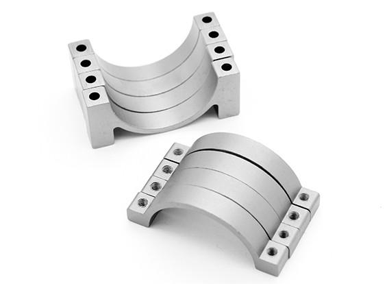 Argento anodizzato CNC morsetto del tubo in lega di semicerchio (incl.screws) 22 millimetri
