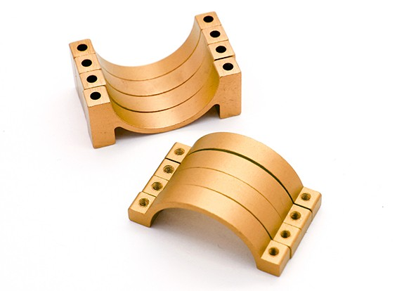 L'oro anodizzato CNC morsetto del tubo in lega di semicerchio (incl.screws) 22 millimetri
