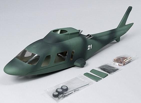 Agusta A-109 in fibra di vetro esercito fusoliera, Ritrarre pronto.