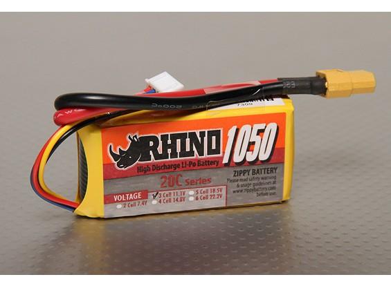 Rhino 1050mAh 3S 11.1V 20C Lipoly Confezione