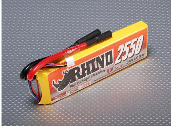 Rhino 2550mAh 3S 11.1v 40C Lipoly Confezione