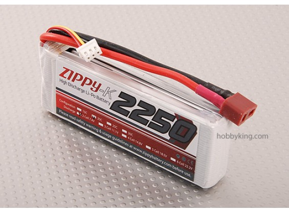 Zippy-K 2250 pacco 2S1P 20C Lipo