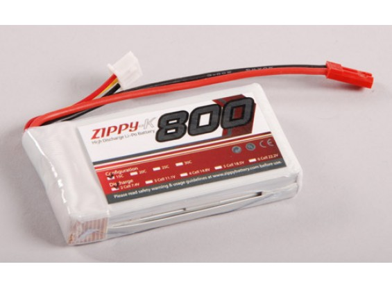 Zippy-K 800 pacco 2S1P 15C Lipo