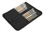 16pcs Natural Bristle Paint Brush Set with Nylon Carry Case