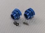 Ruota alluminio blu Adattatori 23 millimetri Hex (2pc)