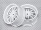 Scala 1:10 Wheel Set (2 pezzi) Bianco Split 6 razze RC Auto 26 millimetri (3 mm di offset)