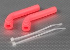 Silicone 78x8mm scarico deflettore (rosa) (2Pcs / Bag)