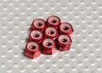 Red alluminio anodizzato M4 Nylock Nuts (8pcs)