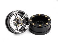 "DC Chequered Flag 1:10 5 Spoke 1.9"" Alloy Wheels Silver/Black (2pcs)"