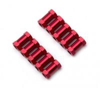 3x10mm alu. peso leggero basamento rotondo (rosso)