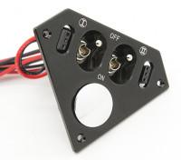 Medium Duty triangolare doppio Futaba / JR interruttore cablaggio con costruito in prese di corrente di carica e di combustibile Dot