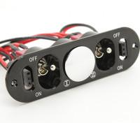 Medium Duty doppio Futaba / JR interruttore cablaggio con costruito in prese di corrente di carica e di combustibile Dot