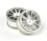 Ride 1/10 Mini 10 Spoke Wheel 0 millimetri Offset - Matt Silver (2 pezzi)
