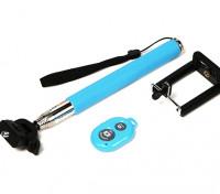 Monopole camma di azione di estensione (selfie Stick) con controllo di otturatore a distanza Bluetooth - Blu