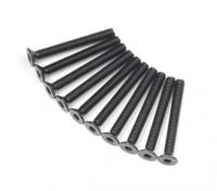 Metallo a testa piatta macchina Vite Esagonale M3x26-10pcs / set