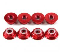 Alluminio flangia basso profilo Nyloc Dado M5 rossi (CW) 8pcs