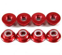Alluminio flangia basso profilo Nyloc Dado M5 rossi (CCW) 8pcs