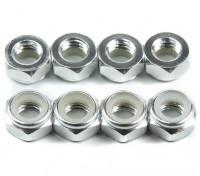 Alluminio a basso profilo Nyloc Dado M5 Argento (CW) 8pcs