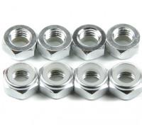 Alluminio a basso profilo Nyloc dado M5 Argento (CCW) 8pcs