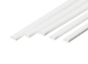 ABS Half Round Rod 4.0mm x 500mm White (Qty 5)
