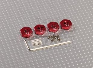 Adattatori ruota in alluminio rosso con viti del blocco - 4mm (12mm Hex)