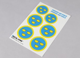 Scala nazionale Air Force Insignia Sticker Sheet - Svezia