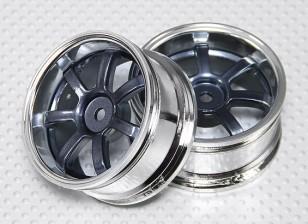 Scala 1:10 Wheel Set (2 pezzi) Grigio / Chrome 5 razze 26 millimetri RC Auto (offset 3 mm)